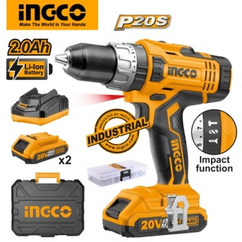 INGCO P20S Tools 20V 2.0Ah Lithium-Ion Impact Drill CIDLI2003 with 2 pcs Battery Pack, 1 pc 1Hr Charger
