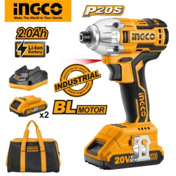 INGCO P20S Tools 20V 2.0Ah Lithium-Ion Impact Driver CIRLI2002 Brushless with 2pcs Battery Pack, 1pc 1Hr Charger