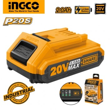INGCO Tools 20V 2.0Ah Lithium-Ion Battery Pack FBLI2001 for P20S Power Tools