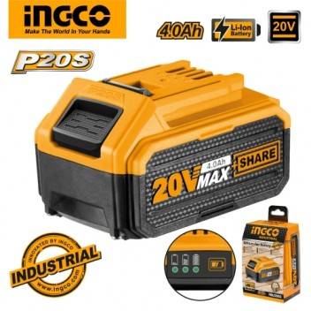INGCO Tools 20V 4.0Ah Lithium-Ion Battery Pack FBLI2002 for P20S Power Tools