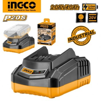 INGCO Tools 20V Fast Intelligent Charger FCLI2001 for P20S Power Tools