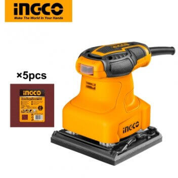 INGCO 240W Corded Palm Sander with With 5pcs Sand Papers PS2408