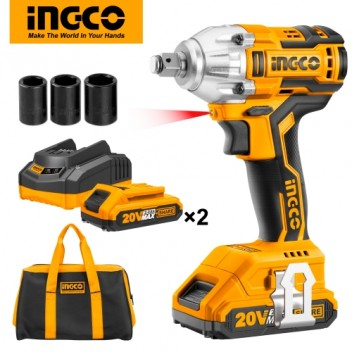 INGCO Lithium-ion Brushless Impact Wrench with 2pcs 20V Battery Pack and 1pc 1Hr Charger CIWLI2001