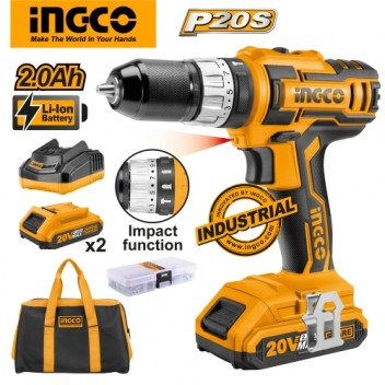 INGCO P20S Tools 20V 2.0Ah Lithium-Ion Impact Drill CIDLI2002 with 2pcs Battery Pack, 1pc 1Hr Charger